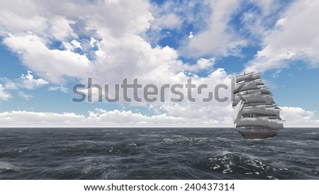 A lone sailboat on the background of the daytime sky and clouds.  Digitally rendered of a distant sailing ship. - stock photo