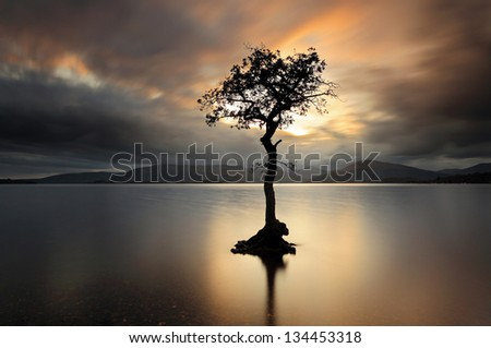 A lone tree partially submerged in the waters of Loch Lomond as the Sun shines through the stormy clouds and lights up the tree and water at Sunset. Shot at Milarrochy bay, Scotland - stock photo