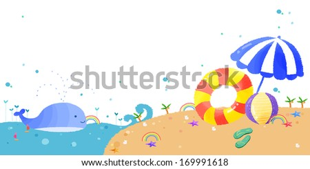 A lone whale at the beach with rainbows surrounding the scene. - stock photo