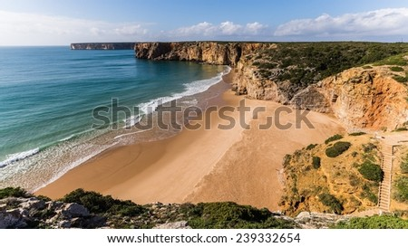 A lonely beach in Portugal - stock photo