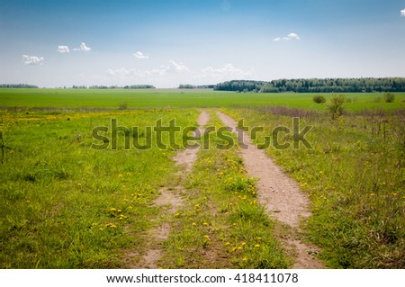 a long and winding rural path, forest away