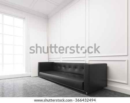 A long black sofa standing at the white wall, three elements of wall decor in shape of rectangles over it. Light from the window to the left. Side view. Concept of interior design. 3D rendering - stock photo