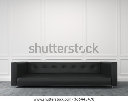 A long black sofa standing at the white wall, three elements of wall decor in shape of rectangles over it. Concept of interior design. 3D rendering - stock photo