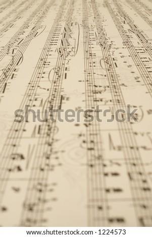 a long endless music-sheet - stock photo