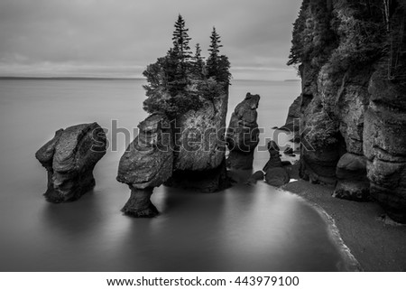 A long exposure in black and white of the Flowerpot Rocks, part of the Hopewell Rocks, in New Brunswick, Canada.