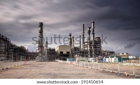 A long exposure of Grangemouth oil refinery, Scotland. - stock photo