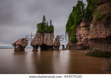 A long exposure of the Flowerpot Rocks, part of the Hopewell Rocks, in New Brunswick, Canada.