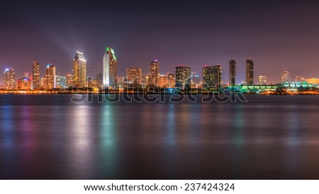 A long exposure of the San Diego city skyline with the colorful city lights reflecting in the water.