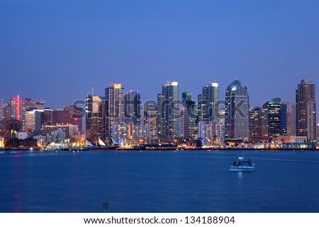 A long exposure of the San Diego skyline at dusk - stock photo
