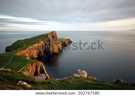 A long exposure shot at Neist point lighthouse on the Isle of Skye during Sunset