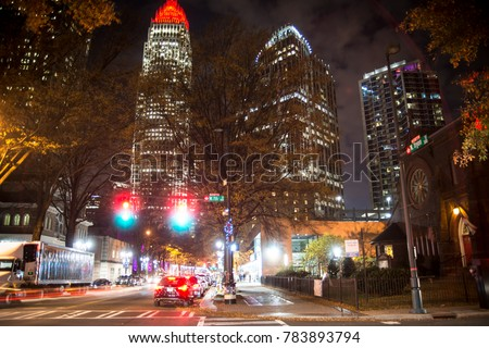 A long-exposure shot of Uptown Charlotte, NC.