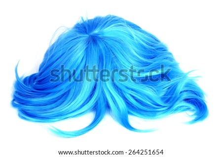 a long-haired blue wig on a white background - stock photo