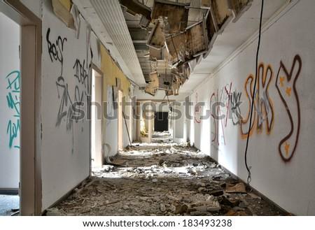 a long hallway - stock photo