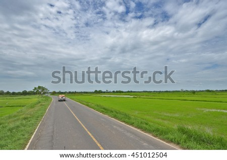 A long road through the rice field under cloudy sky