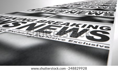 A long row of fthe front page of a newspaper press run with a generic headline that reads breaking news on an isolated white background - stock photo
