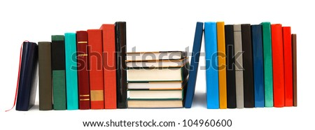 A long row textbooks on school