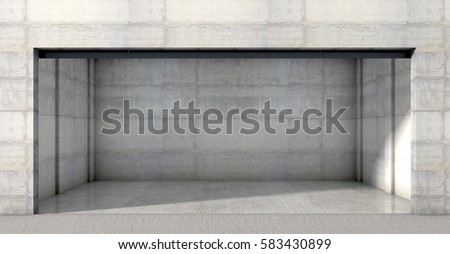 A Look Inside The Interior Of An Empty Double Garage Made Out Concrete