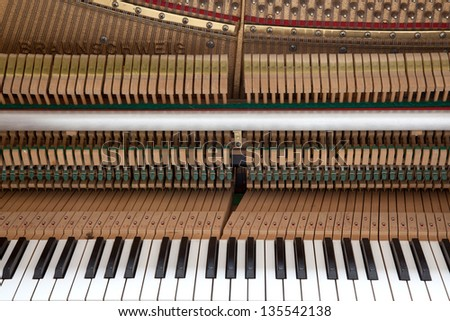 a look into the inside of a piano