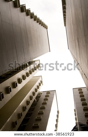 a look up view of some singapore governement apartments. - stock photo
