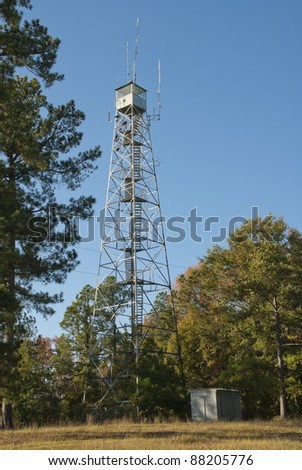 A lookout tower in the Sumter National Forest in the South Carolina Uplands. - stock photo