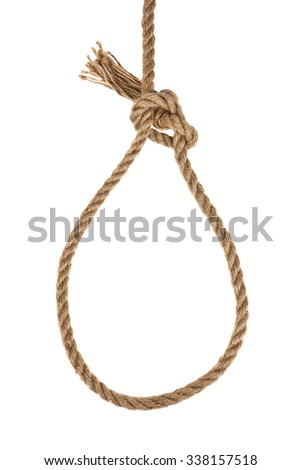 a loop of rope isolated on a white background - stock photo