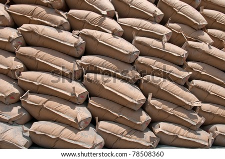 a lot of bags cement - stock photo
