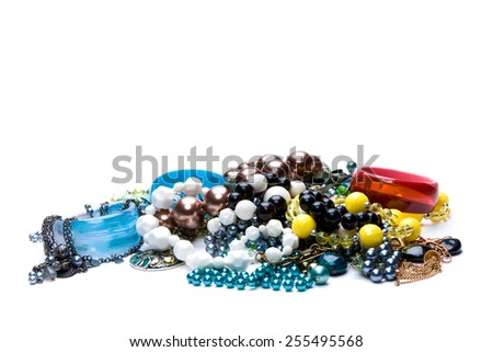A lot of beads and bracelets - stock photo
