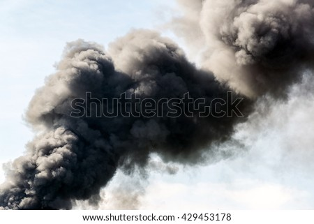 A lot of black smoke from the fire
