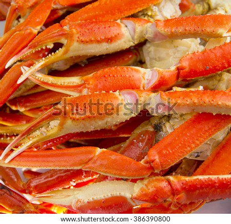 A lot of Boiled crab claws - stock photo