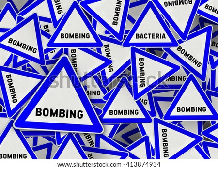 A lot of bombing triangle road sign - stock photo