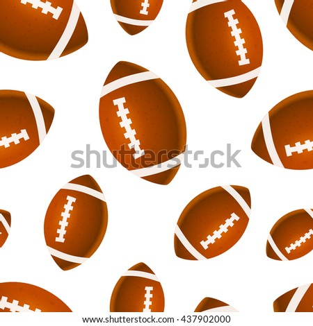 A lot of bright rugby balls on white, seamless pattern
