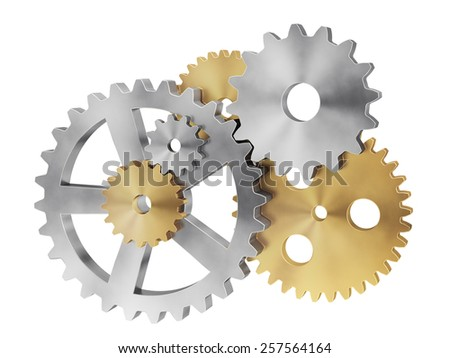 A lot of chrome and gold gears. - stock photo