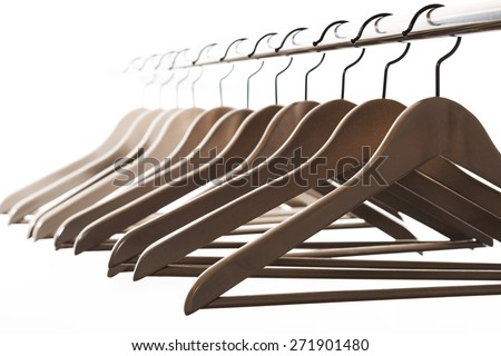 A lot of clothes hangers, close up - stock photo