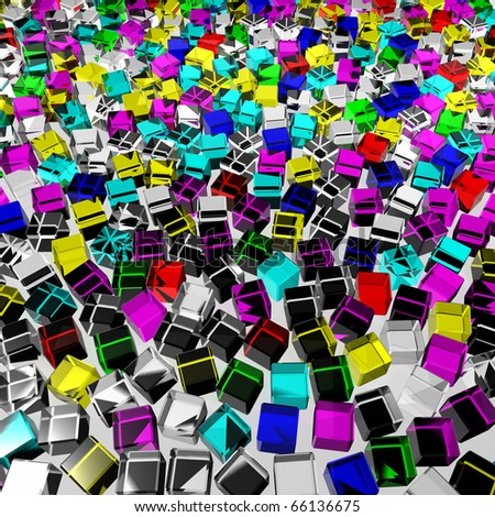 a lot of color messy glass cubes - stock photo