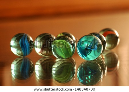 A lot of colorful marbles - close up, soft focus - stock photo