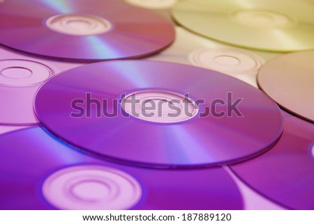 a lot of compact disks - stock photo