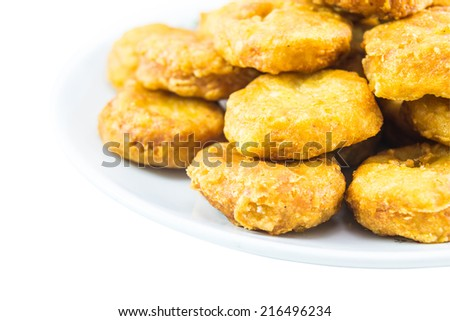 a lot of crispy chicken nuggets - stock photo