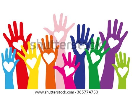 A lot of different colorful hands with a love symbol shaped as a heart