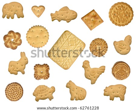 A lot of different cookies, are isolated on a white background - stock photo