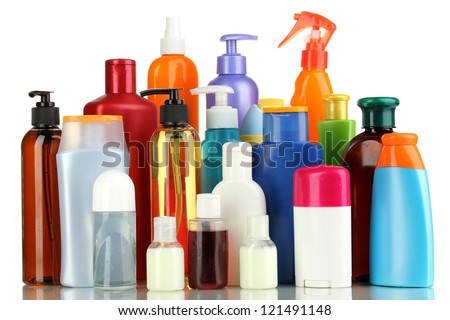A lot of different cosmetic products for personal care isolated on white - stock photo