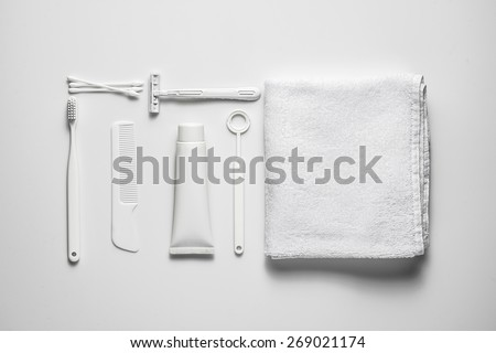 A lot of different cosmetic products for personal care isolated on white. View from above - stock photo