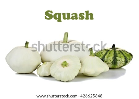 a lot of different squashes isolated on white background with inscription