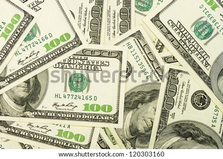 A lot of dollars.Highly detailed picture of American money - stock photo