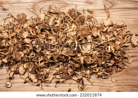 A lot of dry yellowfoot, on wooden background