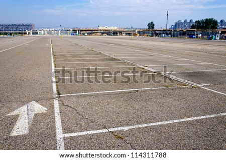 A lot of empty parking space - stock photo