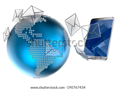 A lot of envelopes, as e-mail or sms, sent to the mobile phone on white background. 3d illustration concept background. - stock photo