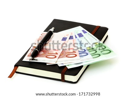 A lot of euro on notepad - stock photo