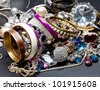 A lot of fashionable women's jewelry, brilliant bangles - stock photo
