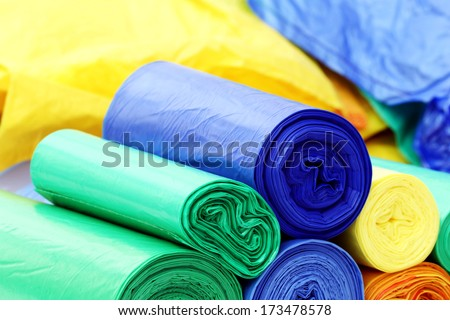 A lot of garbage bags rolls - stock photo
