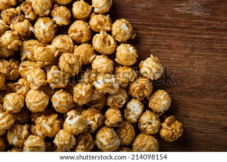 a lot of golden caramel corn close up background - stock photo
